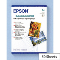 Epson A4 Archival Matte Inkjet Printer Paper 192gsm (Pack of 50)