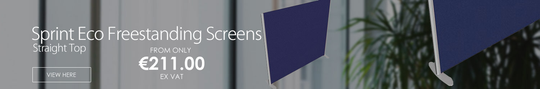 Sprint Eco Freestanding Screen Straight Top W1800xH1000mm Dark Blue