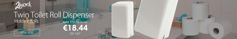 2Work Twin Toilet Roll Plastic Dispenser White