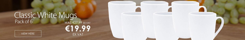 Classic White Mugs Pack of 6 F02305