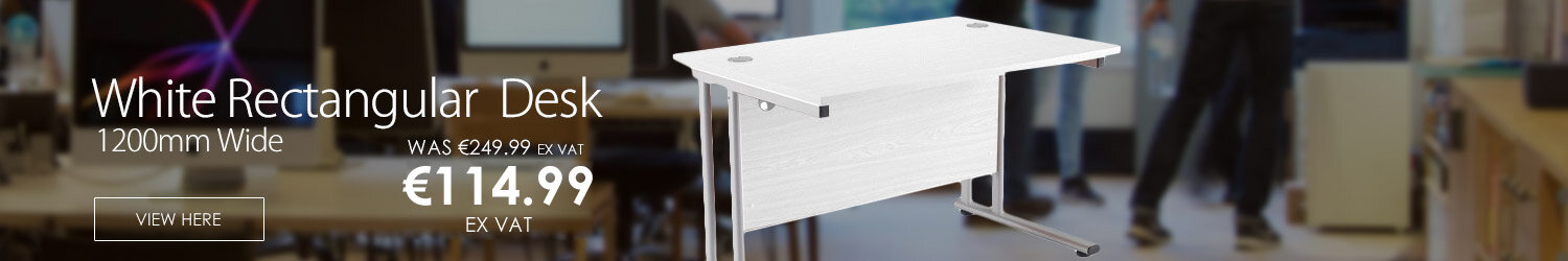Rectangular 1200mm Wide Double Cantilever Silver Leg Office Desk in White