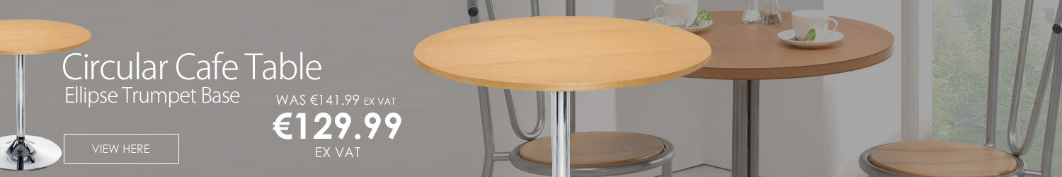 Ellipse Trumpet Base Circular Cafe Table Beech