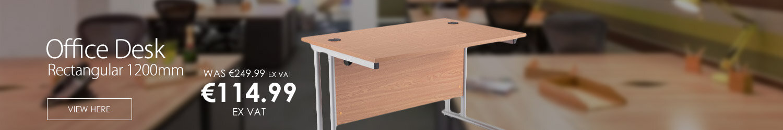 Rectangular 1200mm Wide Double Cantilever Silver Leg Office Desk in Beech