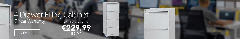 4 Drawer Steel Filing Cabinet Flush Front Goose Grey Bisley BS4E