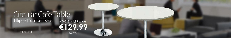 Ellipse Trumpet Base Circular Cafe Table White