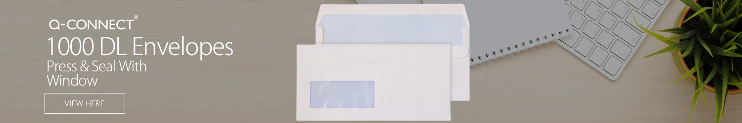 Q-Connect Envelopes DL Window White Wallet Press Seal 90gsm Pack 1000 KF3481