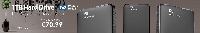 WD Elements 1TB Portable Hard Drive USB 3.0