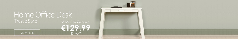 Trestle Style Home Office Desk Soft White