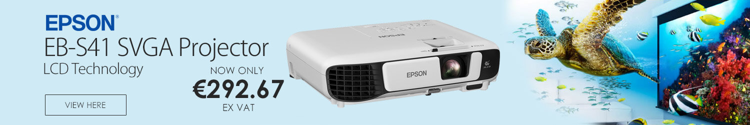 "Epson EB-S41, 3LCD Projector Portable SVGA - 4:3, 800 x 600, Ratio 15000:1, 3300 Lumens, 350"" Screen Size, 3LCD Technology, 6,000 Normal Light Lifespan & Wi-Fi (V11H842041)"