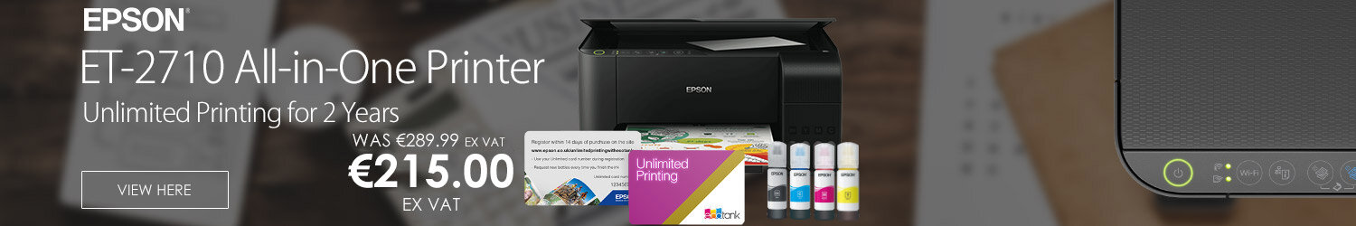 Epson ET-2710 Inkjet All-in-One Printer - Print, Copy & Scan - Wi-Fi + 2 Years Ink Supply