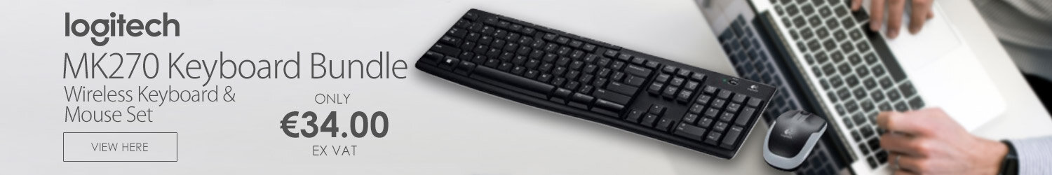 Logitech MK270 Wireless Keyboard & Mouse Combo — Compact mouse, 2.4GHz Dropout-Free Connection, Eight shortcut keys, Extended Battery Life (920-004523)