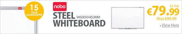 Nobo Nano Clean Steel Whiteboard Magnetic Exclusive Nano Clean Surface W600xH450mm White Ref 1905166