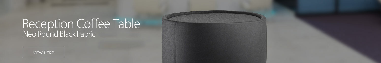 Neo Round Reception Coffee Table Black Fabric
