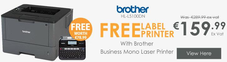 Brother HL-L5100DN Business Mono Laser Printer + FREE Label Maker PT-D450VP