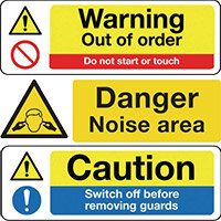 Construction Board 600x450 Safety Sign 4mm Fluted Noise Hazard Zone