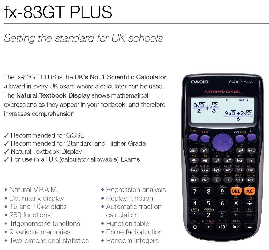 Casio FX-83 GT Plus Scientific Calculator HuntOffice.ie