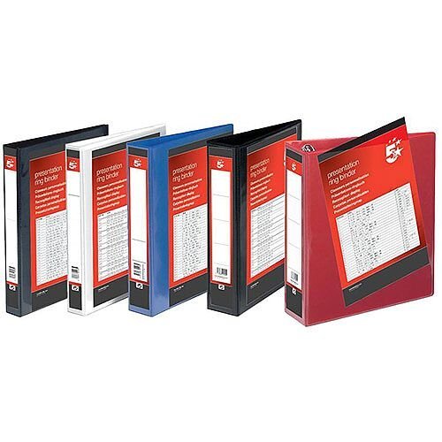 A4 Presentation Ring Binder Red 50mm Spine 4D Rings Filing File PVC Cover