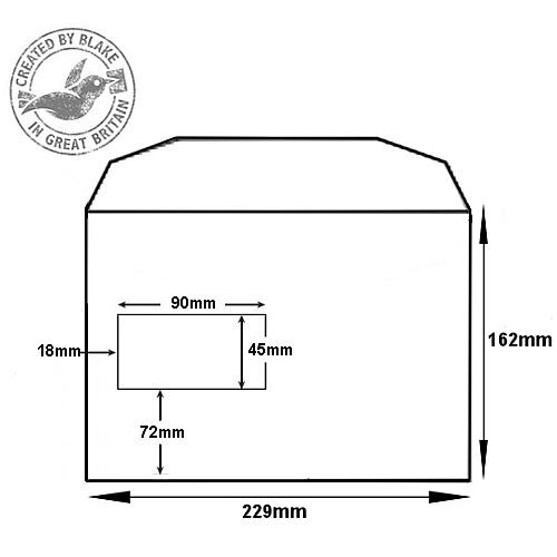 Purely Everyday Mailer Gummed High Window White 90gsm C5+ 162x235 (Pack of 500) HuntOffice.ie