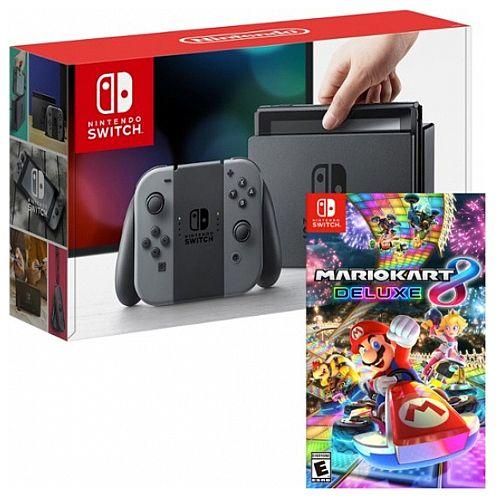 Nintendo Switch Neon Mario Kart Deluxe 8 Game Bundle And