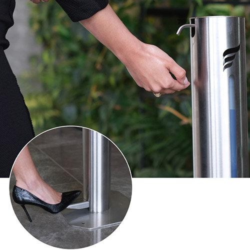 Free-hands sanitiser dispenser