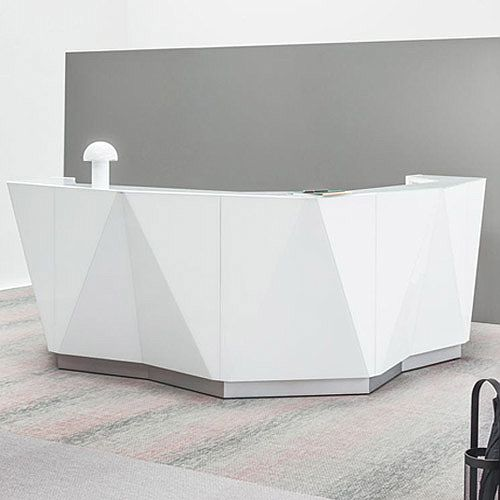 separation shoes 1dd95 aa4f4 ALPA L Shaped Reception Desk with White Glass Front & Right Low Level  Section W4335xD2767xH1100mm