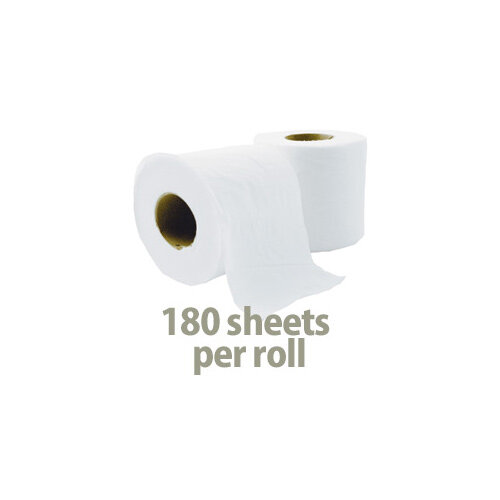 Cushelle Toilet Tissue Paper Rolls 2-Ply 180 Sheets White Pack of 12 Toilet Paper Rolls Additional Image 1
