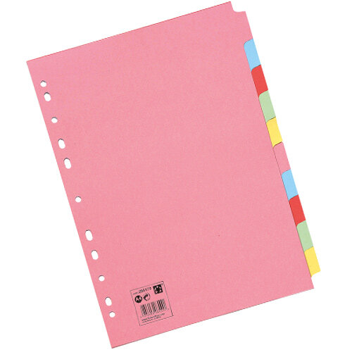 10-Part Subject Dividers Multipunched A4 Assorted 5 Star