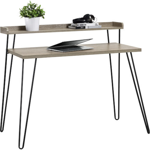 Haven Retro Home Office Desk with Riser – Distressed Grey Additional Image 1