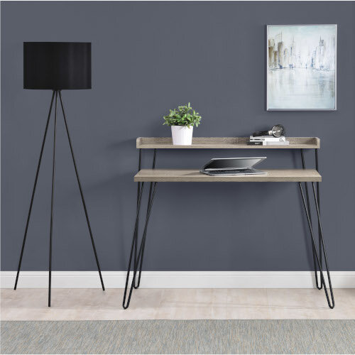 Haven Retro Home Office Desk with Riser – Distressed Grey Additional Image 2