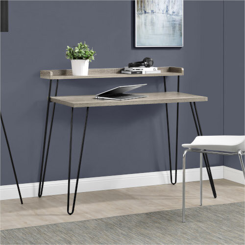 Haven Retro Home Office Desk with Riser – Distressed Grey Additional Image 3