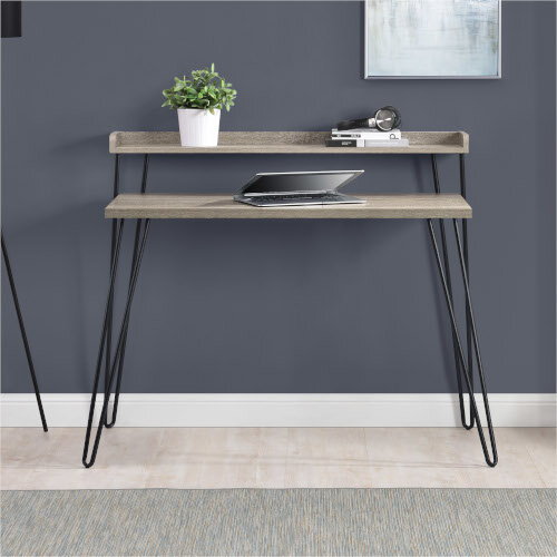 Haven Retro Home Office Desk with Riser – Distressed Grey Additional Image 5