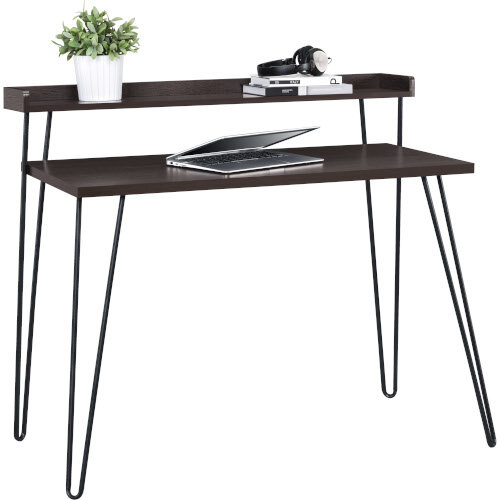 Haven Retro Home Office Desk with Riser – Espresso Additional Image 1
