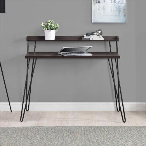 Haven Retro Home Office Desk with Riser – Espresso Additional Image 3