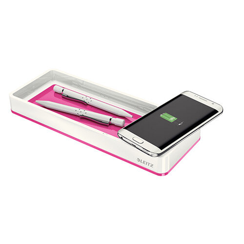 Leitz WOW Desk Organiser with Inductive Charger White & Metallic Pink