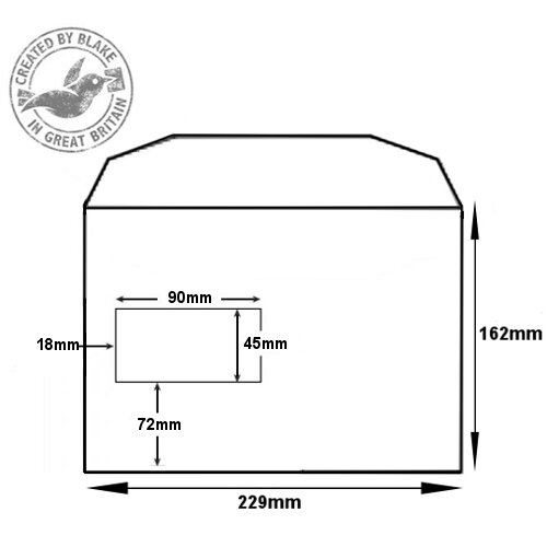 Purely Everyday Mailer Gummed High Window White 90gsm C5 162x229 (Pack of 500) HuntOffice.ie