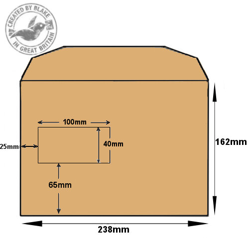 Purely Everyday Manilla Gummed Mailing Wallet Window C5+ 162x238 (Pack of 500) HuntOffice.ie