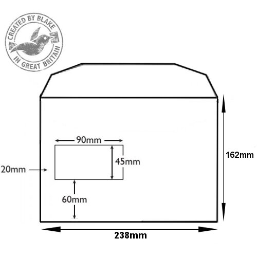 Purely Everyday Mailer Gummed Window White 90gsm C5+ 162x238mm (Pack of 500) HuntOffice.ie