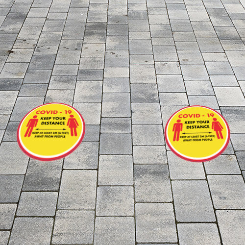 Covid-19 Keep Your Distance Circle Sign 420mm Pack 10   Additional Image 1