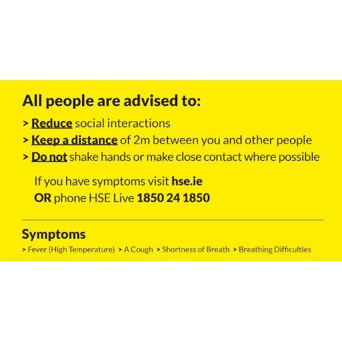 Covid-19 Public Health Advice  Pop Up Sign 850x200mm