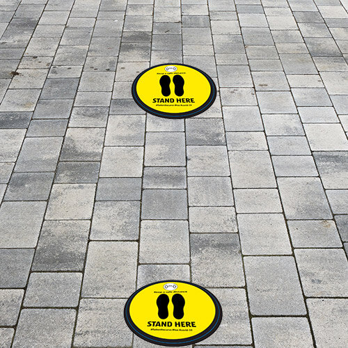 Stand Here Keep A safe Distance Circle Floor Vinyl 420mm Pack 10 Additional Image 1