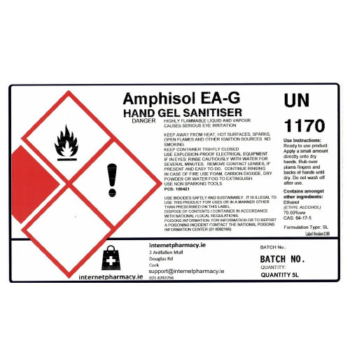 Amphisol - Fully Approved 70% Ethanol Based Hand Sanitiser Gel PCS 100421 5L Additional Image 2