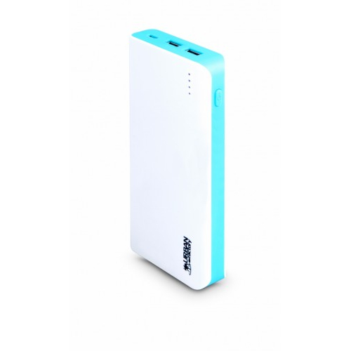Urban Factory Power Bank 20.000mAh - Up To 10 Charging Cycles in a Row - Fast Charging of 2.10A 5V DC - for Smartphone, Tablet, USB Devie - White/Blue at HuntOffice.ie