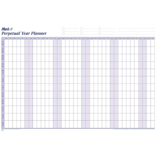 Mark-it Perpetual Year Planner Laminated with Repositionable Date Strips W900xH600mm – Accessory Kit, Colour Shadings, Self-Stick Date Strips & Reusable (PYP) Additional Image 4