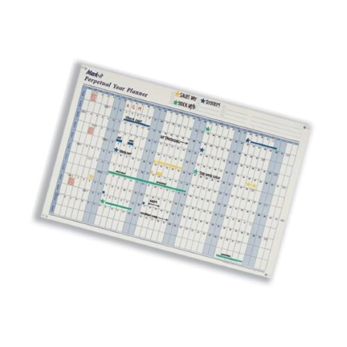 Mark-it Perpetual Year Planner Laminated with Repositionable Date Strips W900xH600mm – Accessory Kit, Colour Shadings, Self-Stick Date Strips & Reusable (PYP) Additional Image 2