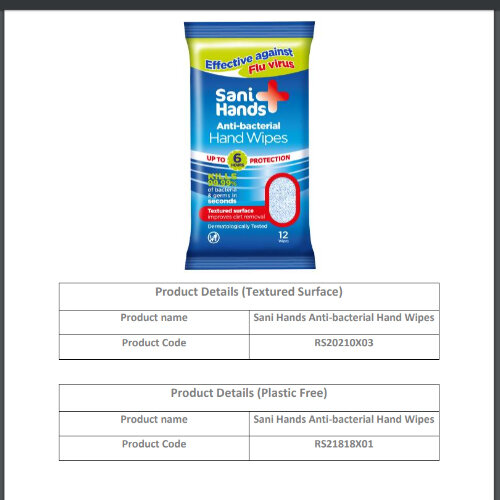 Sani Hands Anti-bacterial Hand Wipes (10 x 12 Wipes)