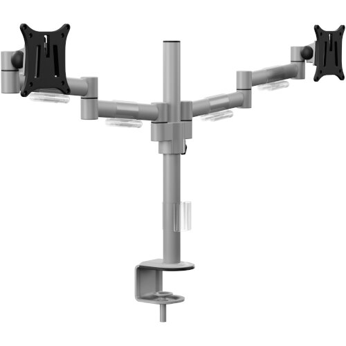 Leap M200 Double Monitor Arm - VESA Compatible, Durable Steel Construction, Ergonomic Streamline Design - Colour: Silver Additional Image 1