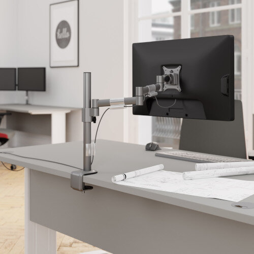 Leap M200 Double Monitor Arm - VESA Compatible, Durable Steel Construction, Ergonomic Streamline Design - Colour: Silver Additional Image 5