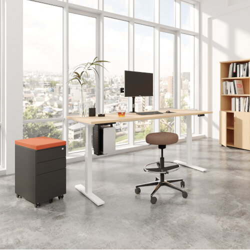 LEAP Electric Height Adjustable Rectangular Sit Stand Desk Plain Top W1600xD800xH620-1270mm Beech Top Silver Frame. Prevents & Reduces Muscle & Back Problems, Heart Risks & Increases Brain Activity. Additional Image 5