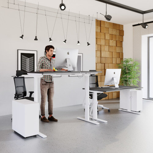LEAP Electric Height Adjustable Rectangular Sit Stand Desk Plain Top W1600xD800xH620-1270mm Beech Top Silver Frame. Prevents & Reduces Muscle & Back Problems, Heart Risks & Increases Brain Activity. Additional Image 14