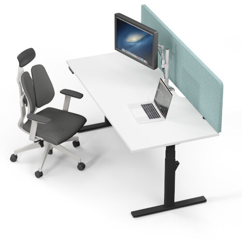 LEAP Electric Height Adjustable Rectangular Sit Stand Desk Scallop Top W1400xD800xH620-1270mm Beech Top Silver Frame. Prevents & Reduces Muscle & Back Problems, Heart Risks & Increases Brain Activity. Additional Image 8
